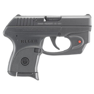 "Ruger LCP Semi Auto Pistol .380 ACP 2.75"" Barrel 6 Rounds Fixed Integral Sights Viridian E-Series Red Laser Polymer Frame Matte Black Finish"