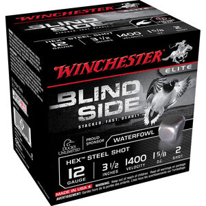 "Winchester Blind Side 12 Gauge Ammunition 3-1/2"" #2 Steel Shot 1-5/8 Oz 1400 fps"