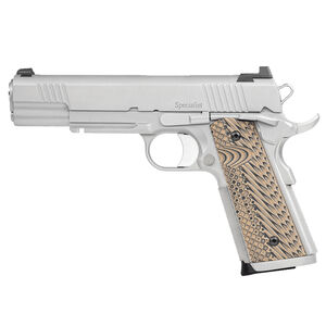 """Dan Wesson Specialist Full Size 1911 10mm Auto Semi Auto Pistol 5"""" Barrel 8 Rounds Fixed Night Sights G10 Grips Bead Blasted Finish"""