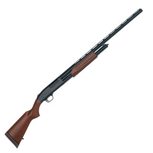 "Mossberg 500 12 Gauge Pump Action All Purpose Field Shotgun 28"" Barrel 6 Rounds Twin Bead Sights Wood Stock Blued Finish"