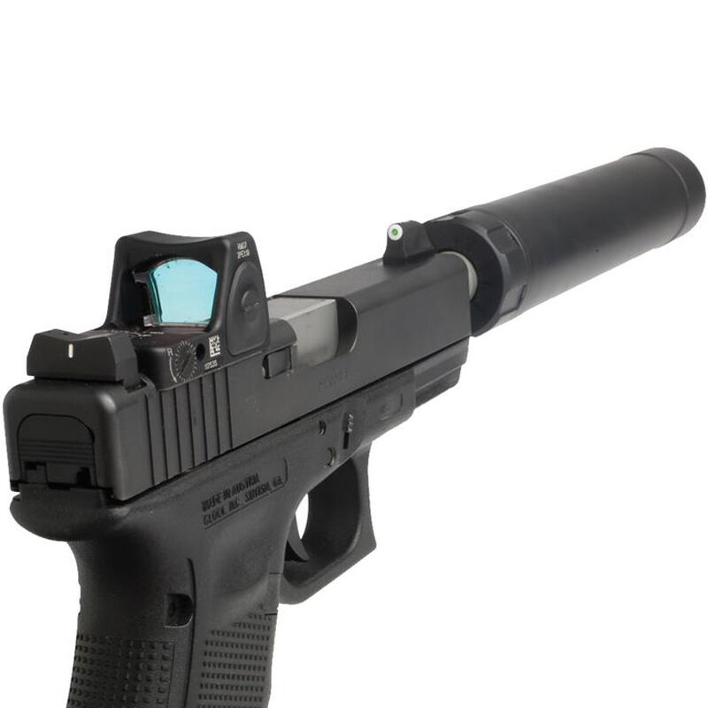 XS Sight Systems DXW Standard Dot Suppressor Height Night Sights GLOCK 20/21/29/30/30S/36/37/41 Green Tritium Front/Solid White Rear Matte Black