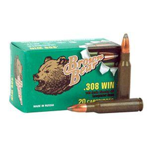 Brown Bear .308 Winchester Ammunition, 20 Rounds, SP, 140 Grains