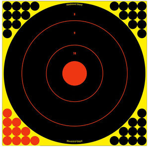 Birchwood Casey Shoot-N-C 17.5 Inch Bull's Eye Self-adhesive Reactive Paper Target Indoor/Outdoor Repair Pasters Black and Red 100 Pack
