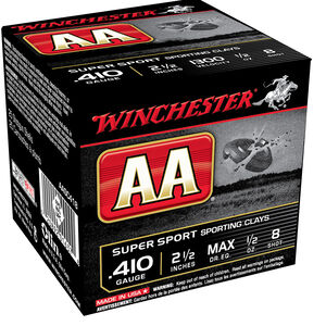 "Winchester AA Super Sport 410 Bore Ammunition 75 Round Value Pack 2-1/2"" Shell #8 Lead Shot 1/2 oz 1300fps"