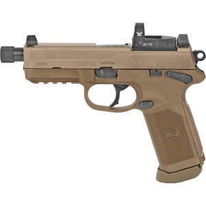 "FN FNX-45 Tactical .45 ACP Semi Auto Pistol 5.3"" Threaded Barrel 15 Rounds with Vortex Red Dot 3-Dot Night Sights Ambidextrous Controls FDE Finish"