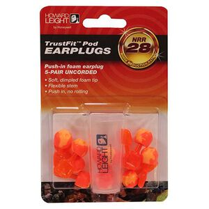 Howard Leight TrustFit Pod Uncorded Foam Ear Plugs 5 Pairs Orange
