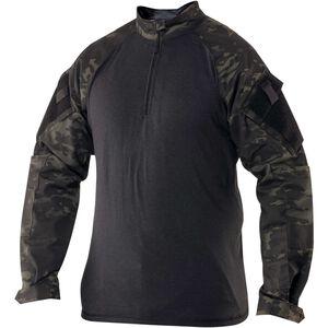 TRU-SPEC T.R.U. 1/4 Zip Combat Shirt 50/50 Ny/Co Rip-Stop Multicam Black