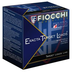 "Fiocchi Exacta Target Line 28 Gauge Ammunition 250 Rounds 2-3/4"" #7.5 Shot 3/4oz Lead 1200fps"