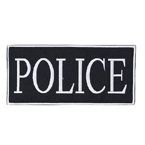 "Voodoo Tactical Law Enforcement POLICE Patch 9"" x 4-1/8"" Velcro/Sew-On Black With White Text 772724348"