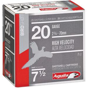 "Aguila High Velocity Bird Shot 20 Gauge Ammunition 250 Rounds 2-3/4"" #8 Lead 1oz 1220fps"