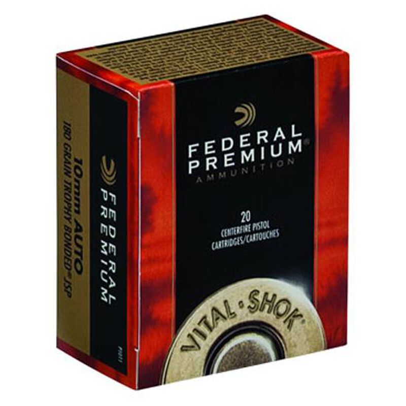 Federal Premium Vital-Shok 10mm Auto Ammunition 20 Rounds 180 Grain Vital-Shok Trophy Bonded Jacketed Soft Point Bullet 1275fps