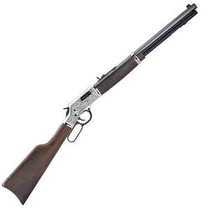 """Henry Big Boy Silver Deluxe Engraved Lever Action Rifle 45 Colt 20"""" Barrel 10 Rounds Silver and Blued Finish"""