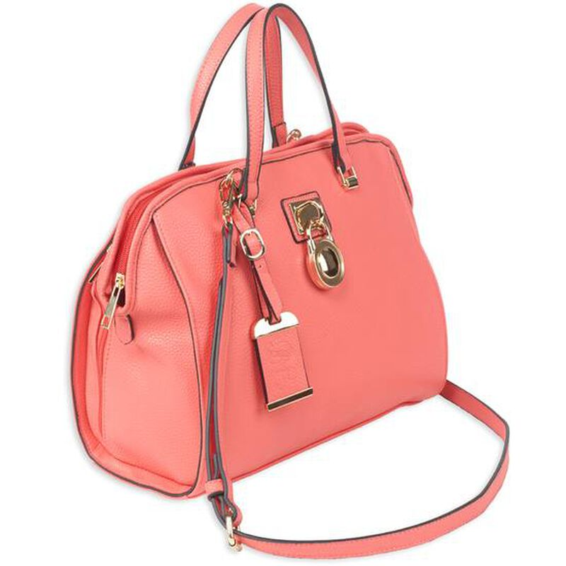 "Bulldog Cases Satchel Style Purse 16""x9.5""x5.5"" Leather Coral"