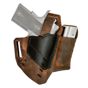"""Versacarry Commander Holster with Thumb Break Size 1 Most Double Stack Semi Auto Pistols with a 3.5"""" Barrel Right Hand Leather Brown and Black"""