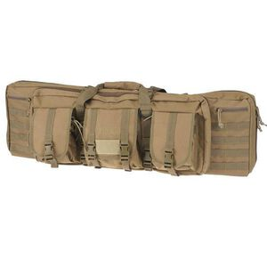 """Drago Gear 42"""" Double Gun Case Padded Backpack Straps Large Storage Pouches 600D Polyester Tan 12-323TN"""