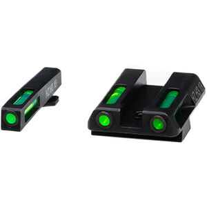 HiViz LITEWAVE H3 GLOCK 42/43 Green Tritium Fiber Optic Night Sight Set Steel Black