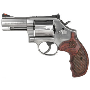 """Smith & Wesson Model 686 Plus Deluxe .357 Magnum Double Action Revolver 3"""" Barrel 7 Round Stainless Steel Frame Satin Stainless Finish"""