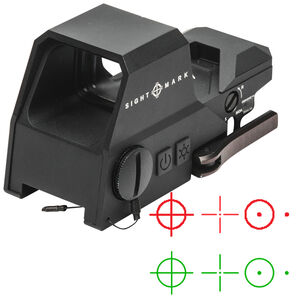 Sightmark Ultra Shot R-Spec Reflex Sight Red/Green Multi-Reticle 1 MOA Adjustment CR123A Battery Picatinny QD Mount Aluminum Housing Matte Black Finish