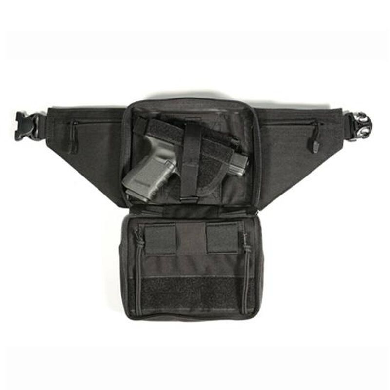 BLACKHAWK! Concealed Weapon Fanny Pack Medium Ambidextrous Fits Medium Revolvers and Compact Autos Nylon Black