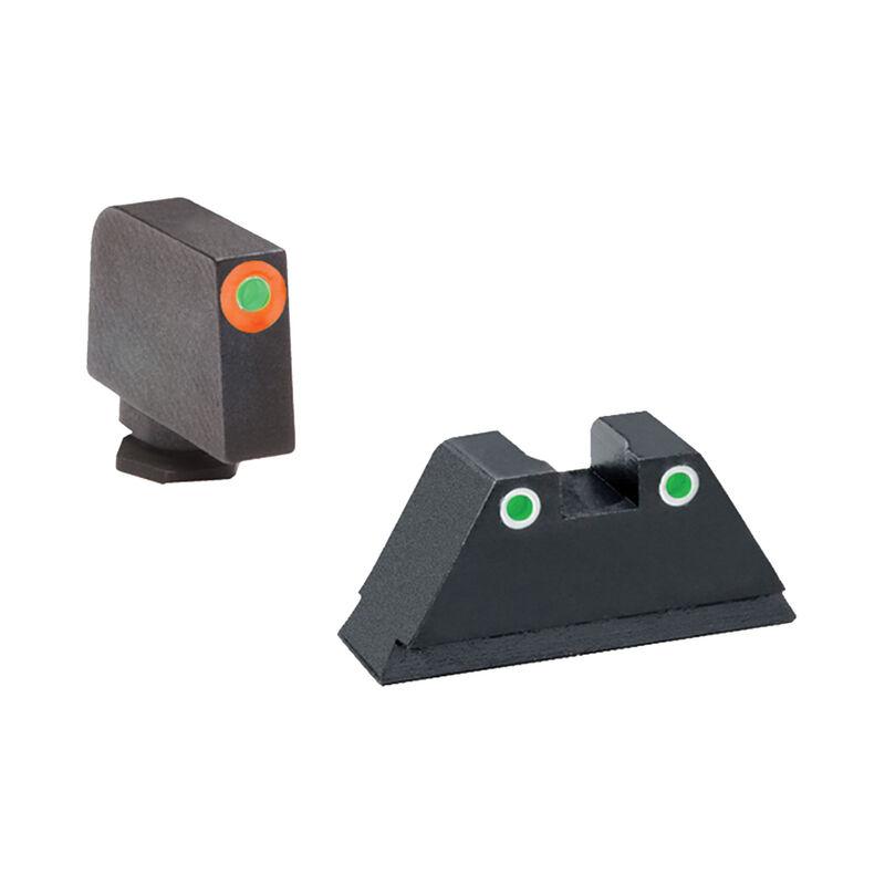 Ameriglo Tall Suppressor Green Orange Sight Set for GLOCK GL-331 Green Tritium Front Dot with Orange Outline and Green Tritium with White Outline Rear Dot
