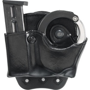 Aker Leather 519A DMS Combo Combination Magazine and ASP Handcuff Case Size 03 9mm/.40 S&W Magazine Right Hand Leather Plain Black A519ABPRU-3