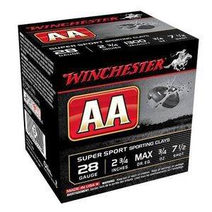"Winchester AA Super Sport 28 Gauge Ammuntion 250 Rounds 2.75"" #7.5 Lead 3/4 Ounce AASC287"