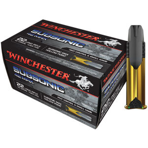 Winchester Subsonic 42 MAX .22LR Ammunition 42 Grain Lead HP 1065 fps