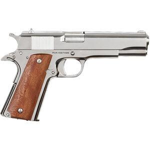 "Rock Island Armory GI Standard FS 1911 Semi Auto Handgun .38 Super 5"" Barrel 9 Rounds Wood Grip High Polish Nickel Finish"