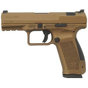 """Century Arms TP9DA 9mm Luger Semi Auto Handgun 4.07"""" Barrel 18 Rounds Interchangeable Grips Polymer Bronze"""