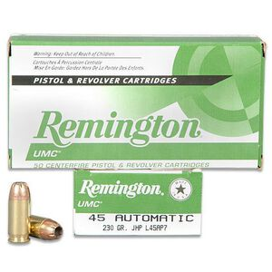 Remington UMC .45 ACP Ammunition 50 Rounds 230 Grain Jacketed Hollow Point 835fps