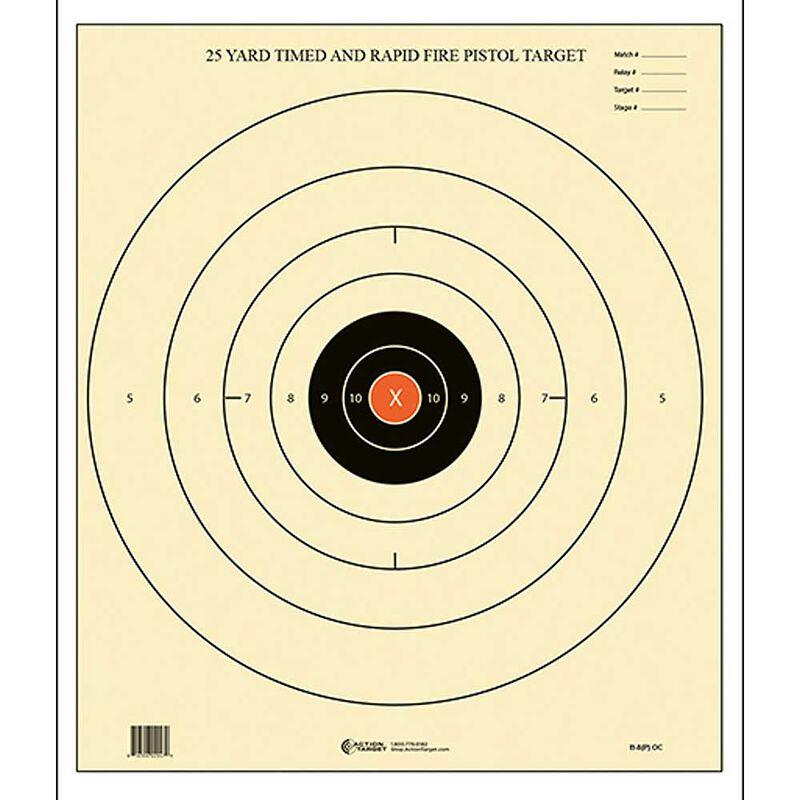 """Action Target B-8 25-Yard Timed and Rapid Fire Target (Orange Center) 21""""x24"""" Paper Target Black Orange Center 100 Pack"""