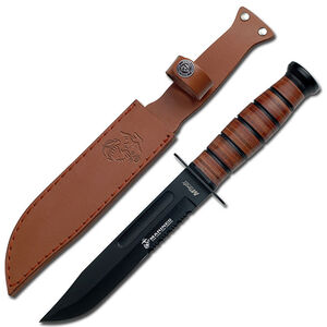 Master Cutlery MTech USMC Knife Fixed 7 inch Clip Point Black Partially Serrated Blade Leather Handle Black Sheath