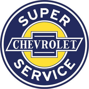 """Open Road Brands """"Chevrolet Super Service"""" Embossed Tin Sign with Knock Out 12""""x12"""""""