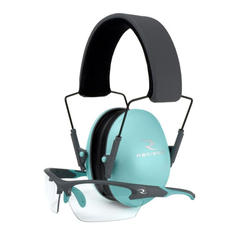 Radians Lowset Eyewear/Earmuff Combo Passive -21dB Noise Reduction Rating Adjustable Moisture Wicking Headband Compact Folding Feature Aqua/Charcoal Finish