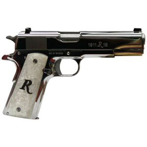 "Remington 1911 R1 Government Semi Auto Pistol .45 ACP 5"" Barrel 7 Rounds Simulated Pearl Grips Polished Nickel 96304"