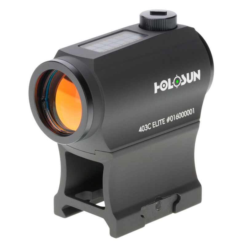 Holosun HE403C-GR Elite Green Dot Sight 1x Magnification 20mm Objective Lens 2 MOA Dot Weaver Style Low/Lower 1/3 Co-Witness Mount Solar/CR2032 Battery Matte Black Finish