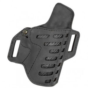 """Versacarry Compound Series Holster OWB Size 3 Most Single Stacked Sub Compacts with 3"""" Barrel Right Hand Leather Black"""