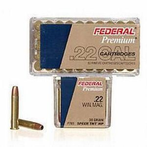 Federal V-Shok .22 WMR Ammunition 500 Rounds 30 Grain Speer TNT Hollowpoint 2,200 Feet Per Second