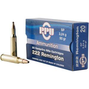 Prvi Partizan PPU Standard .222 Rem Ammunition 20 Rounds 50 Grain SP 3140fps