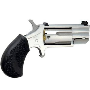 """NAA Pug Single Action Revolver .22 Magnum 1"""" Barrel 5 Rounds Night Sights Rubber Grips Stainless Steel NAA-PUG-T"""