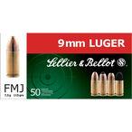 Sellier & Bellot 9mm Luger Ammunition 50 Rounds 115 Grain Full Metal Jacket 1280fps