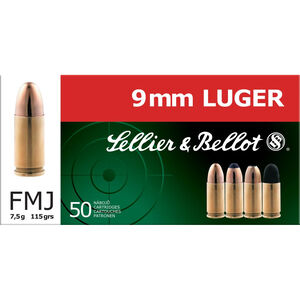 Sellier & Bellot 9mm Luger Ammunition 115 Grain Full Metal Jacket 1280fps