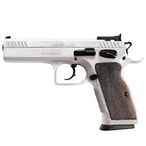 "EAA Witness Elite Stock II Semi Auto Pistol 9mm Luger 4.5"" Barrel 17 Rounds Adjustable Sight Ambidextrous Safety Checkered Walnut Grip Chrome Finish"