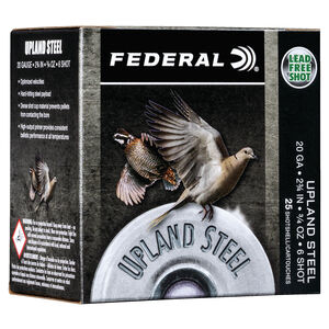 "Federal Upland Steel 20 Gauge Ammunition 2-3/4"" #6 Steel Shot 3/4 Ounce 1500 fps"