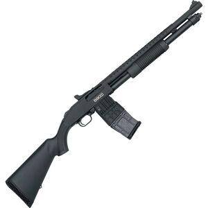 "Mossberg 590M Mag-Fed Pump Action Shotgun 12 Gauge 2-3/4"" Chamber 18.5"" Heavy Walled Barrel 10 Round DBM Heat Shield/Tri-Rail/Synthetic Stock Matte Black"