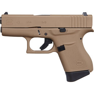 "GLOCK 43 9mm Luger Subcompact Semi Auto Pistol 3.4"" Barrel 6 Rounds Polymer Frame Apollo Custom Dark Earth Cerakote Finish"