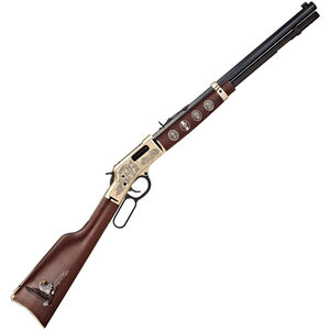 "Henry Big Boy Eagle Scout Lever Action Rifle .44Mag/.44 Special 20"" Octagonal Barrel 10 Rounds Centennial Celebration Edition American Walnut Stock Polished Brass with Engravings Adjustable Rear Sight H006ES"