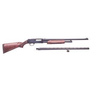 "Mossberg 500 20 Gauge Pump Action Field and Deer Shotgun Combo 24"" and 26"" Barrels 6 Rounds Wood Stock Blued Finish 54282"
