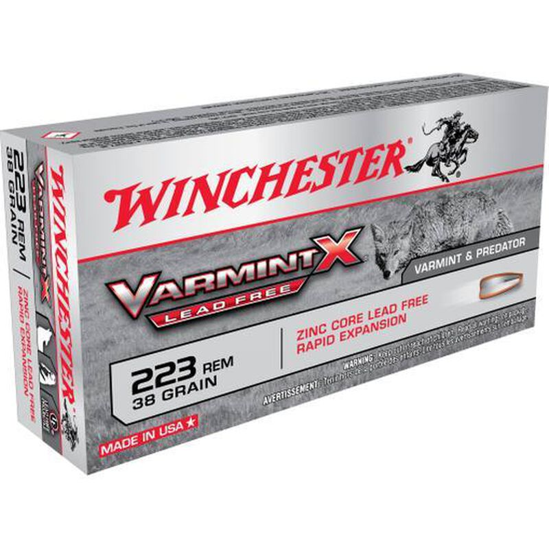 Winchester Varmint-X Lead Free .223 Remington Ammunition 20 Rounds 38 Grain Zinc Core Hollow Point