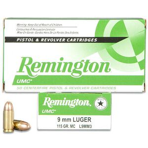 Remington UMC 9mm Luger Ammunition 50 Rounds FMJ 115 Grains L9MM3